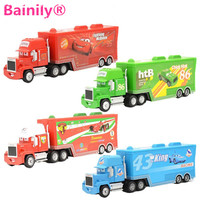 Bainily 4PCS Mack Truck Hauler Diecast Meta Small Cars Toys Children Xmas Gift