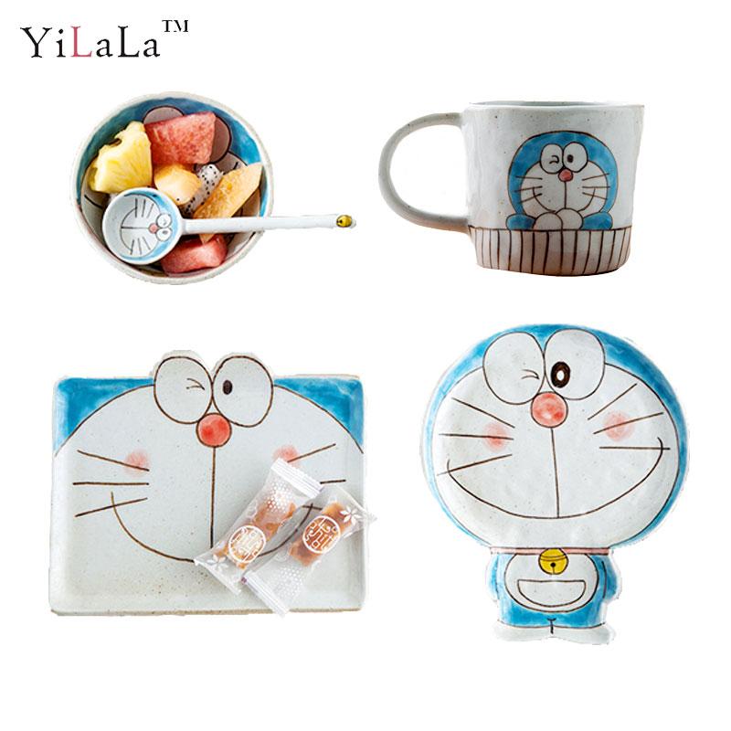 Yilala Ceramic Dinner Plates Doraemon Plate Dish for Kids Cute Cartoon Bowl Porcelain Dishes Tableware Children Spoon Dinnerware