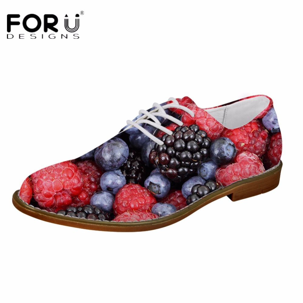 FORUDESIGNS 3D Fruit Pattern Fashion Oxfords Shoes for Teenage Boys Casual Synthetic Men Oxfords Shoes Flats