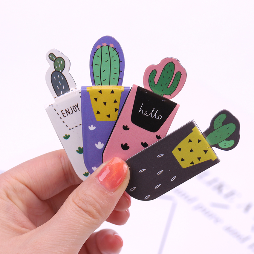 3PCS /Set Fresh Cute Cactus Magnetic Bookmarks Books Marker Of Page Student Stationery School Office Supply