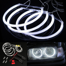 цена на 4Pcs Car Light Car Angel Eyes Light For BMW E46 3 Series Sedan 1995-2005 White Halo Rings LED Light Set Auto Led Headlight