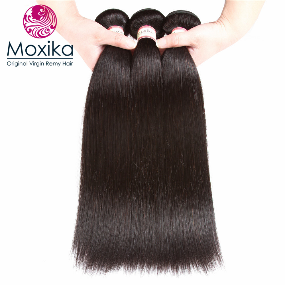 Moxika 100% Straight Human Hair 3bundles lot Remy Natural Color Brazilian Hair weaves 3pcs 8-28inch Mix Length Free Shipping