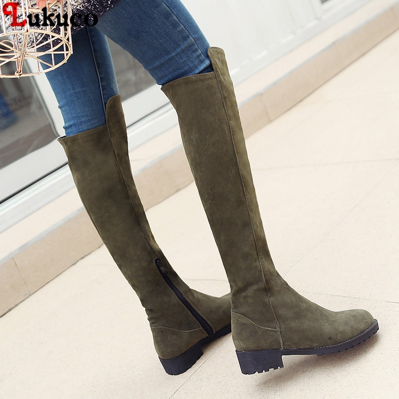 Warm Plush New Thigh High Boots Female Winter Boots Women Over the Knee Boots Size 34-46 Sexy Fashion Shoes 2018 riding boots ryvba woman knee high snow boots fashion thick plush warm thigh high boots winter boots for women shoes womens female sexy flats