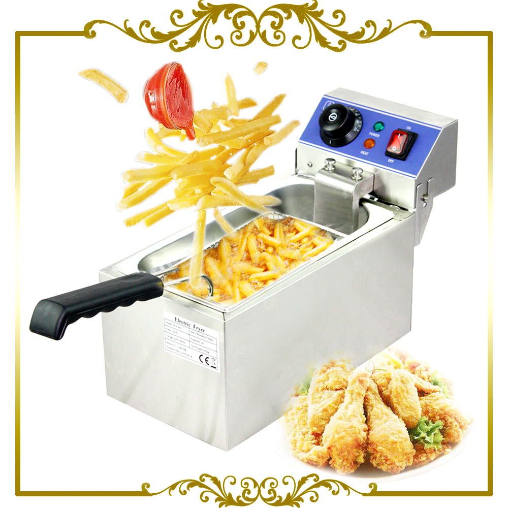 Electric 6L Fryer Commercial Home Use French Fries Commercial 2000W Stainless Steel Countertop Deep Fryer Single Tank Basket 1pc gas type stainless steel food fryer french fries fryer potato deep fryer deep fat gas fryer