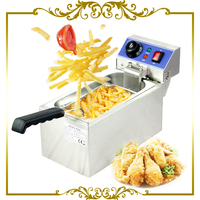 Electric 6L Fryer Commercial Home Use French Fries Commercial 2000W Stainless Steel Countertop Deep Fryer Single