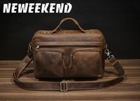 2018New Arrival Men's Shoulder Bag Satchel Genuine Cowhide Leather Messenger Bags for Men Rugged Portfolio PD2067