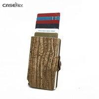 CaseKey RFID Card Holder Business Card Wallet ID Credit Card Holder Women Men Leather Waterproof Card Protector Metal Cardholder