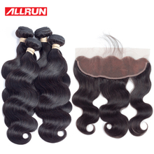 Allrun Peruvian Hair Products 4 Pc Body Wave Human Hair Bundles With 13*4 Lace Frontal Natural Color Non Remy Hair Weave