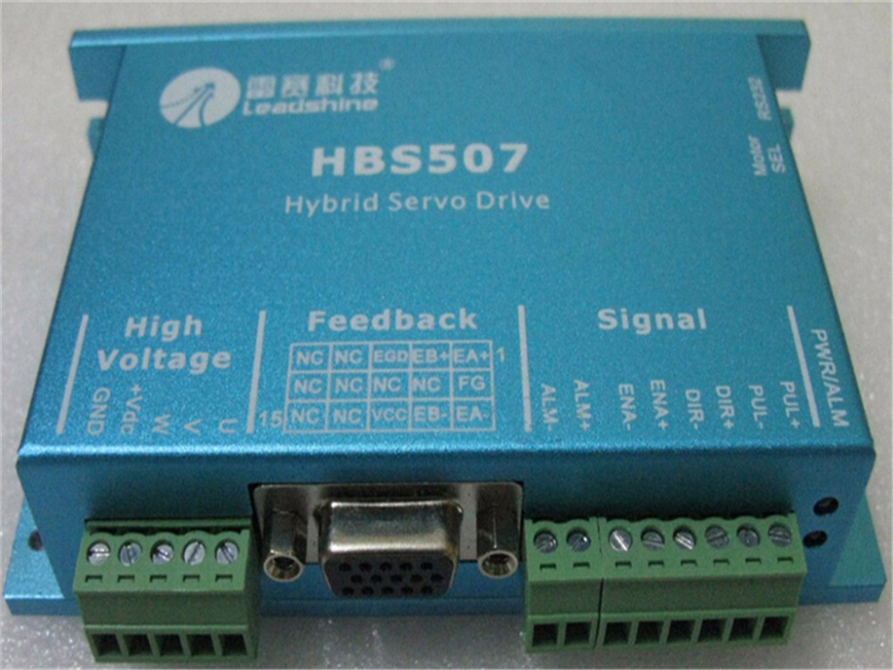 NEMA23 3PHASE closed loop motor hybrid servo drive HBS507 leadshine 18-50VDC new original 100w new leadshine closed loop system a servo drive hbs507 and 3 phase servo motor 573hbm10 1000 with a cable a set cnc part