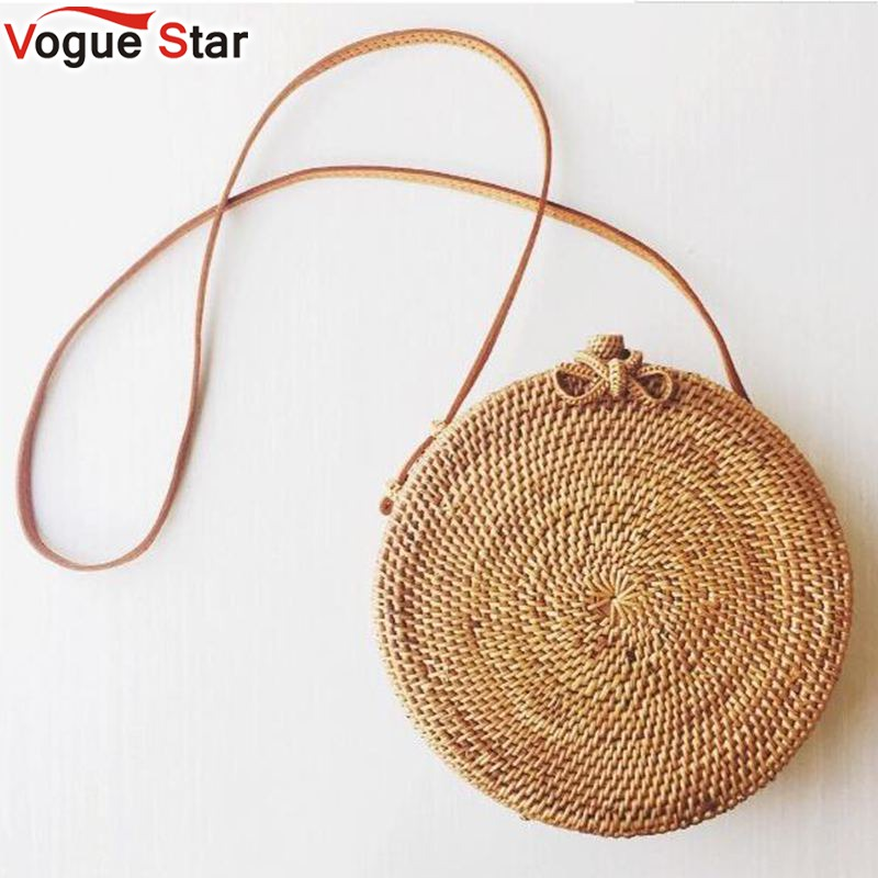 цены Popular 2018 hot sale Vietnam Hand Woven Bag Round Rattan Straw Bags Bohemia Style Beach Circle Bag free shipping LB967