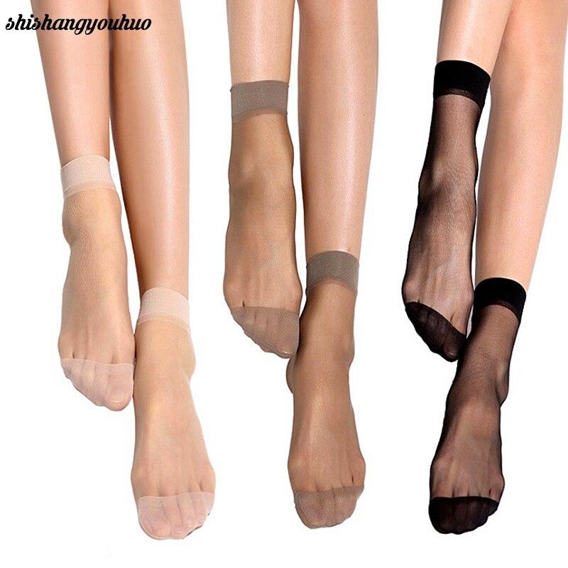 Summer sexy ultrathin transparent crystal silk   socks   for women high elastic black nylon short   socks   female   socks   10pairs/lot