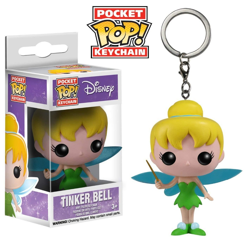 FUNKO POP Cute toy TINKER BELL action Figure Collection Model Pocket Pop keychain toys for children birthday gift with box