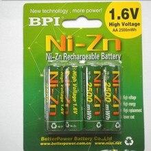 4 шт./лот BPI AA 2500mWh 1,6 V 1,5 V NI-батареи zn батареи зарядки