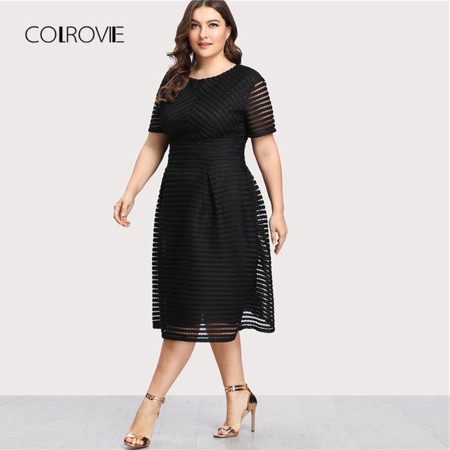 COLROVIE Plus Size Black Pleated High Waist Striped Mesh Sheer Sexy Dress Women Autumn Party Dress Elegant Long Dresses 3