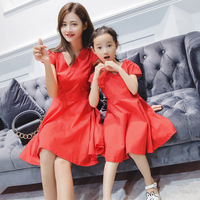 Mommy and Daughter Family Matching Clothes Mother Me Dresses Summer V Neck Fashion Matching Family Outfits Mom Kids Look