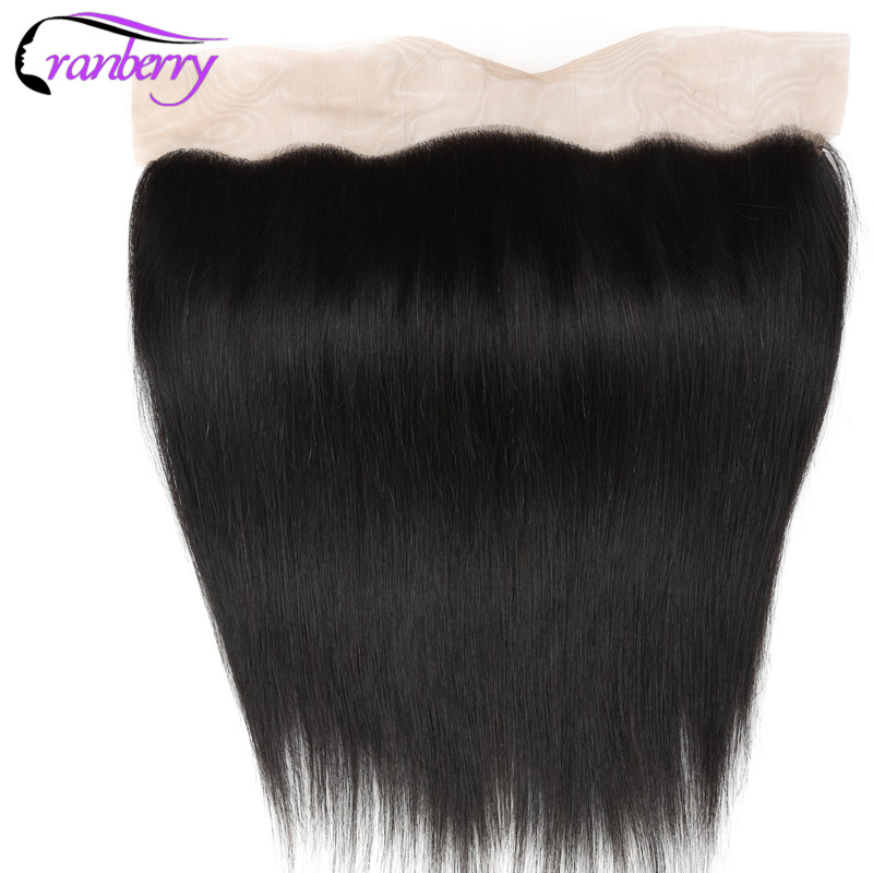 Cranberry Hair Peruvian Straight Hair Ear to Ear Lace Closure Frontal Free Part 100 Remy Human