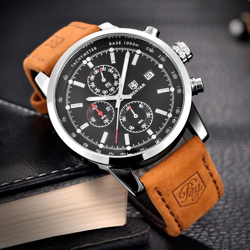 BENYAR zegarki mężczyźni luksusowej marki zegarek kwarcowy moda chronograf Reloj Hombre zegarek sportowy mężczyzna godzina Relogio Masculino 4