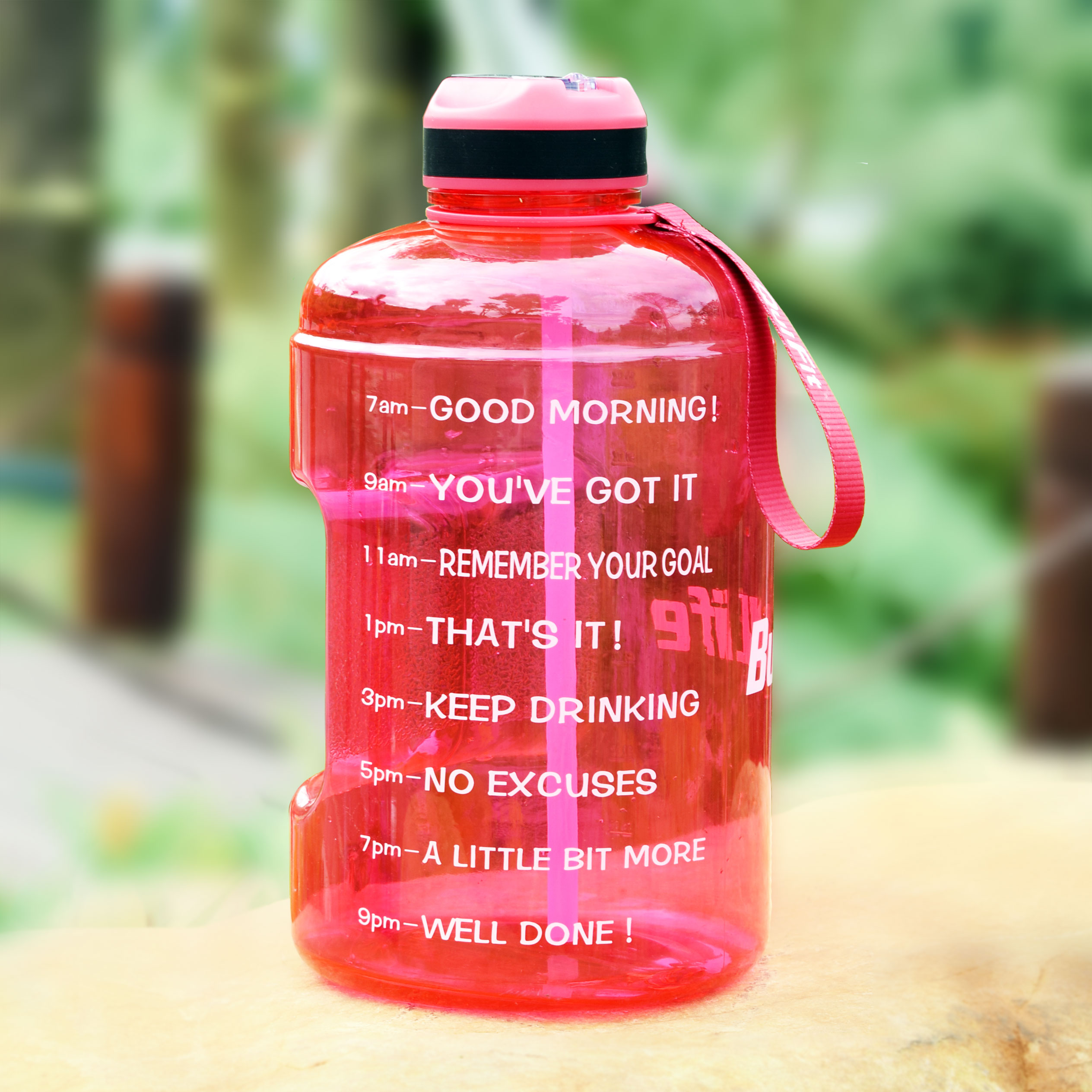 Quifit 3.78l 128oz 1 Gallon Water Bottle With Straw Time Markings Plastic Drinking Bottles Large