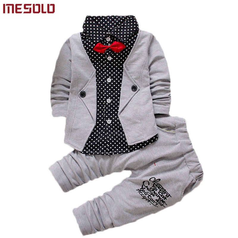 2017 Baby Boys Autumn Casual Clothing Set Baby Kids Button Letter Bow Clothing Sets Babe jacket + pant 2-Piece Suit Set promotion 6pcs baby bedding set cot crib bedding set baby bed baby cot sets include 4bumpers sheet pillow