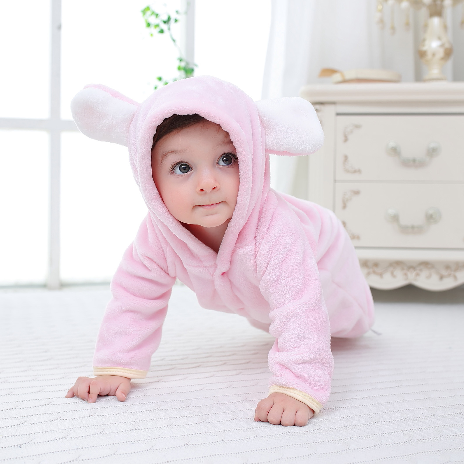Newborn Baby Boys Girls Spring Autumn Clothes New Flannel Hooded Romper Infant Children's Clothing 0-1y Baby Rompers Outwear