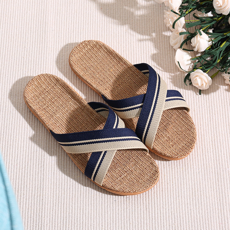 Men Slippers Sandals Flip Flops 2018 New Summer Fashion Breathable Hemp Non-slip Shoes Man Home Slides Striped Casual Female