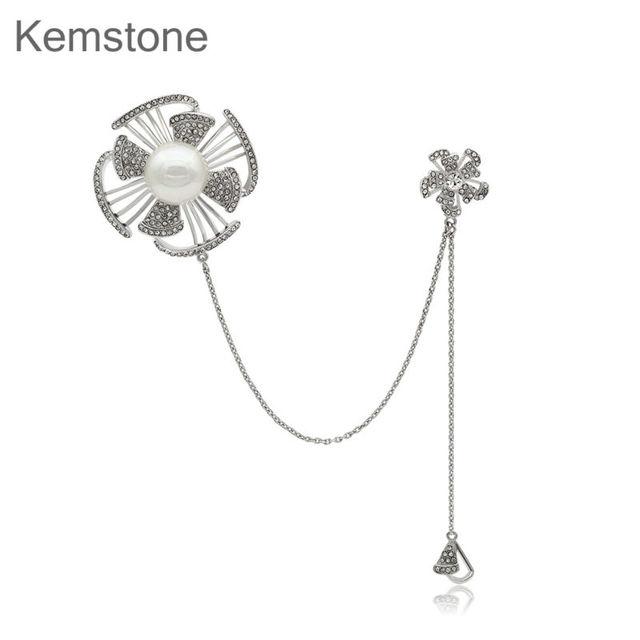 Kemstone Mulheres Elegante Simulado Pérola Jóias Cristal Pin Broche de Flor