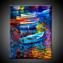 Hand Painted Abstract Seascape Knife Oil Painting on Canvas Colorful Boats Scenery