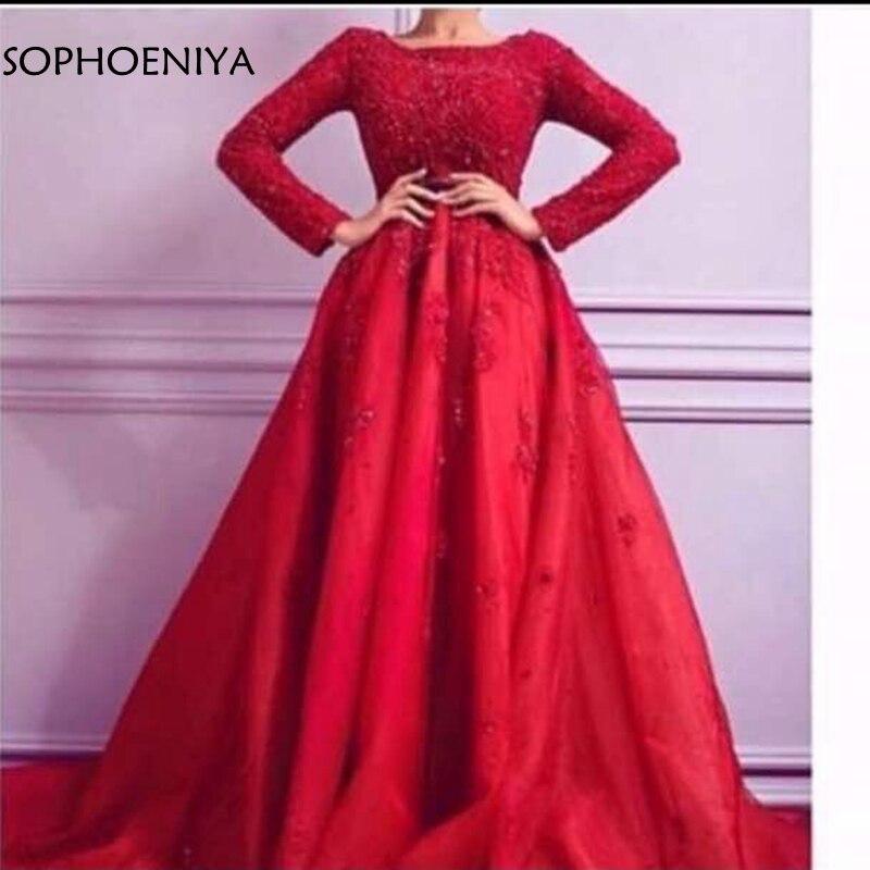 New arrival Red Long sleeve   evening     dresses   2019 Kaftan dubai   evening     dress   Party A-Line vestido festa longo abiti da sera