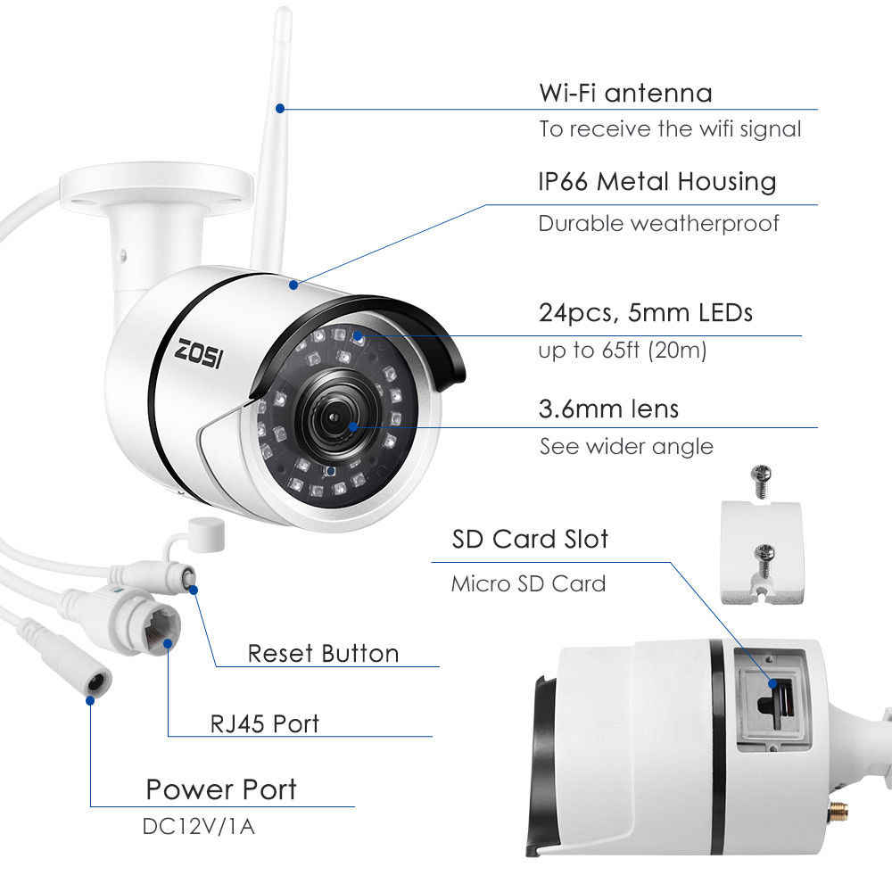 ZOSI 1080 P беспроводная wifi ip-камера Onvif наружная безопасность пуля ИК ночного видения Предустановленная 32 Гб sd-карта