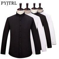 PYJTRL Brand S 6XL Men Long Sleeve Stand Collar Business Casual Black White Shirt Camisa Social Blusas Masculina Slim Fit Blouse