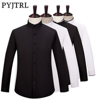 PYJTRL Brand S 6XL Men Long Sleeve Stand Collar Business Casual Black White Shirt Camisa Social