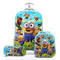 New Design Boys Minions 3D Luggage+Pencil Bag Set/Despicable Me Travel Luggage 3Pcs Suit/Kid Cartoon Printed School Trolley Bags