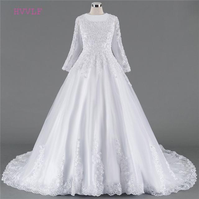 d1e0a319e91 Lace Vestido De Noiva 2018 Muslim Wedding Dresses Ball Gown Long Sleeves  Appliques Pearls Cheap Boho Wedding Gown Bridal Dresses