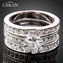 Chran Silver Plated 3 Pave Crystal Couple Wedding Rings Fashion Cubic Zirconia Engagement for Women