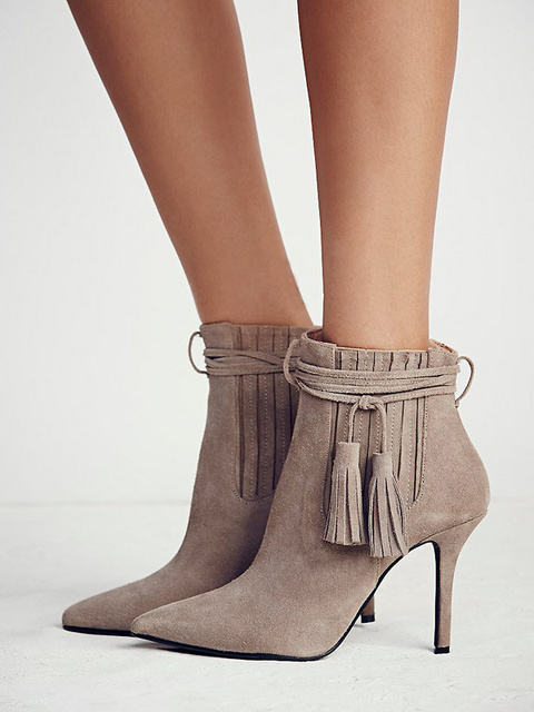 Hot sale side fringe ankle boot for woman in winter pointed toe ...
