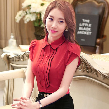 Elegant Women Ruffle Short Sleeve shirt OL Formal slim laciness chiffon blouse office ladies plus size work wear tops S-4XL 1