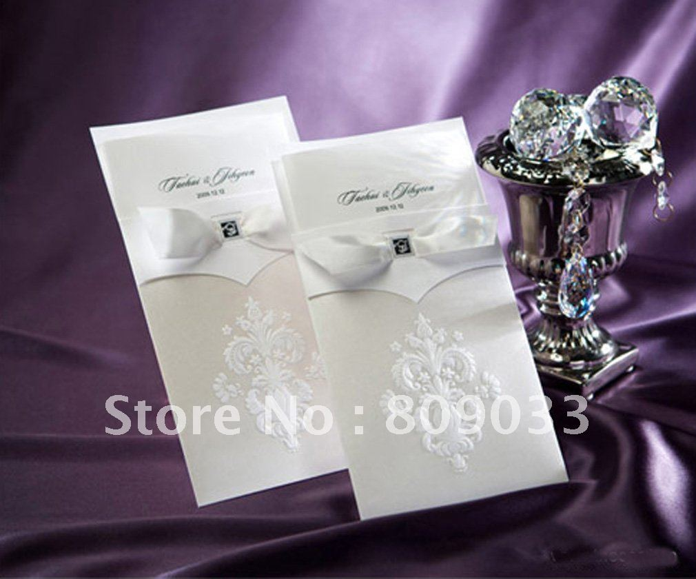 High Quality Elegant Wedding Invitation with a nice bow ,Elegant ...