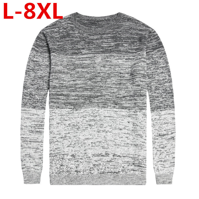 plus size 8XL 7XL Spring solid Casual Men Sweater male Sweater Winter Men's O-Neck Cotton Sweater Jumpers Pullover Sweater Men telwin alpine 20