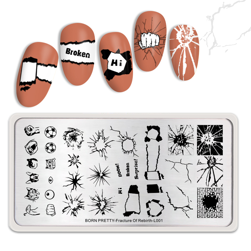 <font><b>BORN</b></font> <font><b>PRETTY</b></font> Stainless Steel Stamping Plates Nail Art Accessories Tool Decompress Theme Nail Stamp Plate Fracture Of Rebirth <font><b>L001</b></font> image