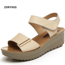 лучшая цена 2017 New Summer Women Sandals Genuine Leather Shoes Woman Nurses Shoes Anti-skid Mother Shoes Soft Comfortable Wedges Sandals