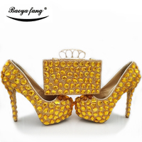 BaoYaFang New Yellow Gold crystal wedding shoes with matching bags Women High heel real leather Platform shoes woman high Pumps