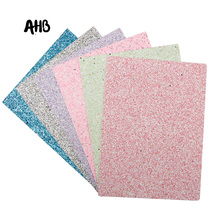 AHB A4 Chunky Glitter Fabric Shiny Sheets Decorative Fabric Faux Leather Fabric for Bows Handmade Crafts Patchwork Materials ahb synthetic leather glitter printed unicorn shiny fabric faux leather sheets diy hair bows fabric handmade crafts materials
