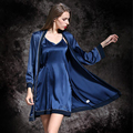 Blue Temptation Womens Quality Silk Satin Nightgown Sleepwear Female Silk Robe Twinset Lounge Set Nightdress Sling Sleepwear