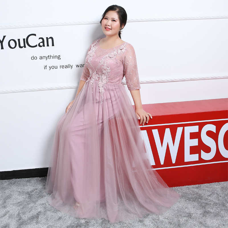 JaneVini 2019 Dusty Pink Evening Dress Plus Size Mother of the Bride  Dresses With Sleeve Lace Appliques Tulle Formal Mother Gown