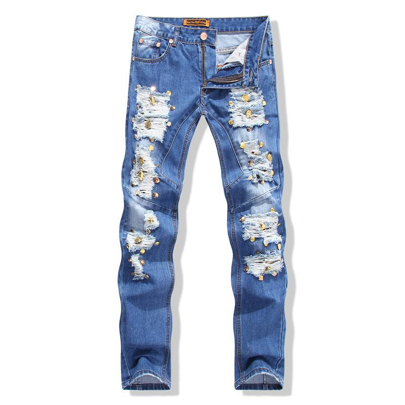 #2748 2016 Mens jeans Slim Straight Biker denim Motorcycle jeans Mens designer clothes Straight Jeans homme Ripped jeans Rivet