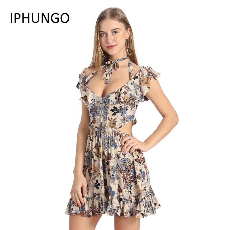 IPHUNGO 2017 Halter Off Shoulder Women Summer Dress Sexy Hollow Out Short Dress Elastic Mini High Waist Floral Print Dress 2017