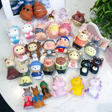 New 2019 Fashion Cute Cartoon Pig colt KT cat Keychain Leather Rope Key Chains Animal Key Ring Holder Fur Pompones Small Gift