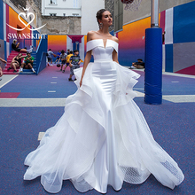 Mode 2 In 1 Trouwjurk Satin Mermaid Off Shoulder Afneembare Trein Bruid Gown Prinses Swanskirt F139 Vestido De Noiva