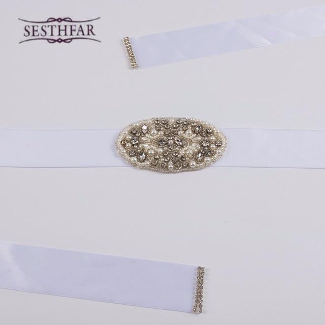 Women New White Crystal Rhinestone Pearl Wedding Bridal Dress Belt Cummerbunds Sash Waistband Girdle Hair Accessories 2016