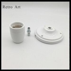 Image 3 - בציר קרמיקה תקרת עלה מנורת כבל סט צבעוני e27 e26 קרמיקה מנורת בעל עם תקרת עלה